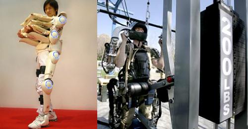 Exoesqueletos (HAL e Eskeleton) carregando pesos