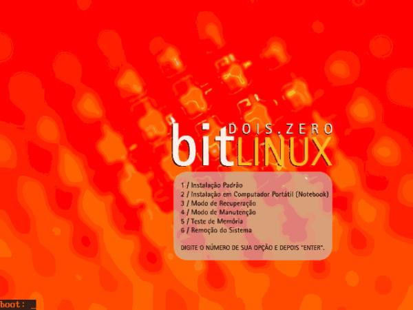 BitLinux - Opções de boot do isolinux