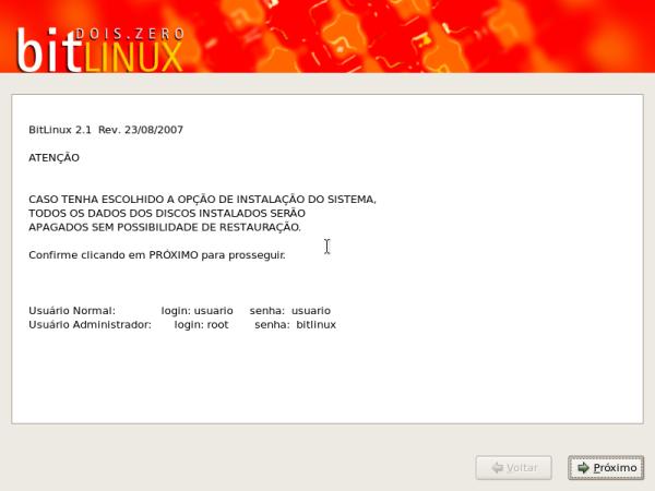 BitLinux - In�cio da instalação, usando o anaconda, mesmo instalador do Fedora.