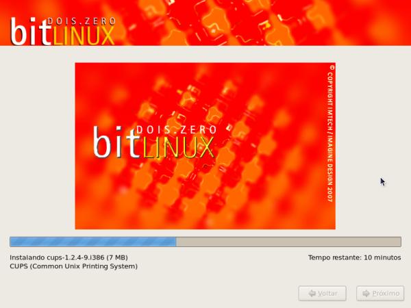BitLinux - Cópia dos pacotes durante a instalação