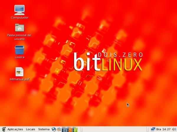 BitLinux - Área de trabalho, note o manual em pdf